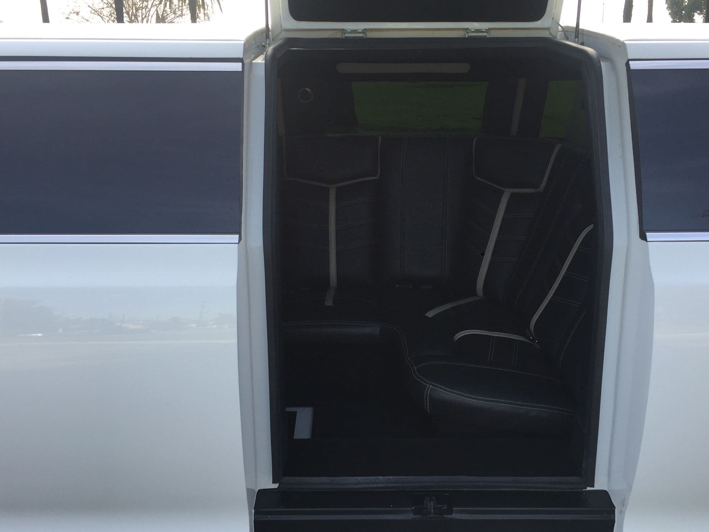 driver compartment has button release for fifth door two color tone interior black and white led color changing lit up floor glossy black surfaces on bar & 2015 WHITE CHRYSLER 300 180-INCH 5TH JET DOOR #1874 ...